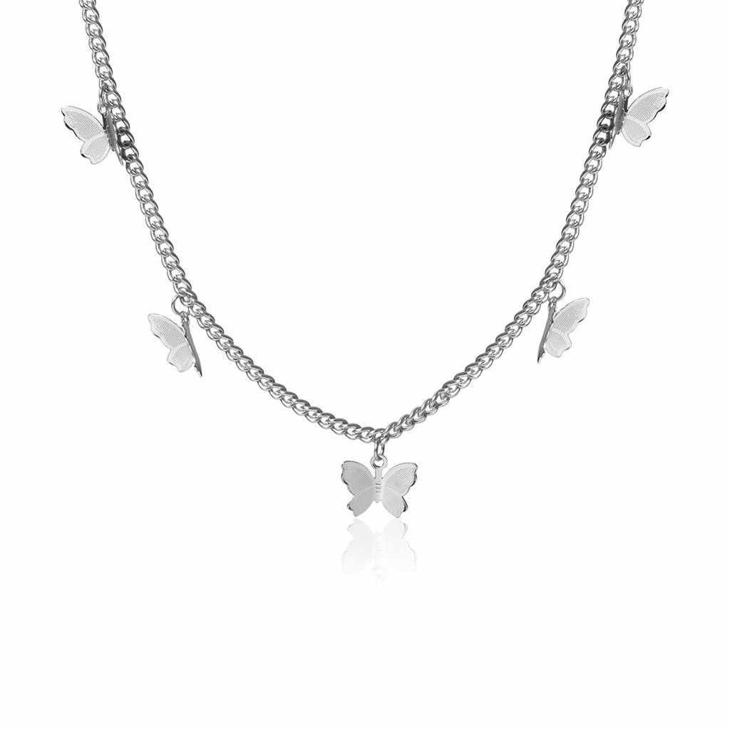 Kalung Wanita Perhiasan Rantai Kalung Emas Kalung Panjang Fashion Metal Alloy Butterfly Liontin Perak Pernyataan Kalung Hadiah