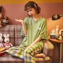 MELIFLE Summer Fashion Green Silk Pajamas Sets for Women 100% Cotton PJS Satin Soft Sleepwear Atoff Home Kawaii Lounge Nightwear