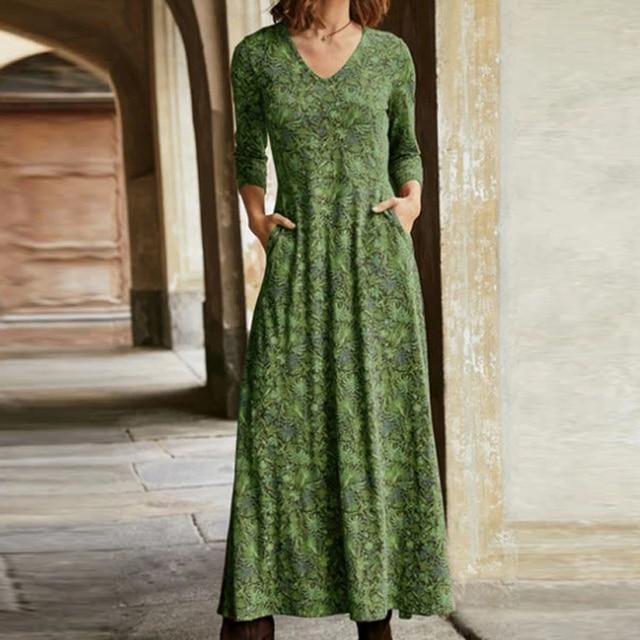 lovely casual long dress, pockets and v neckline 1