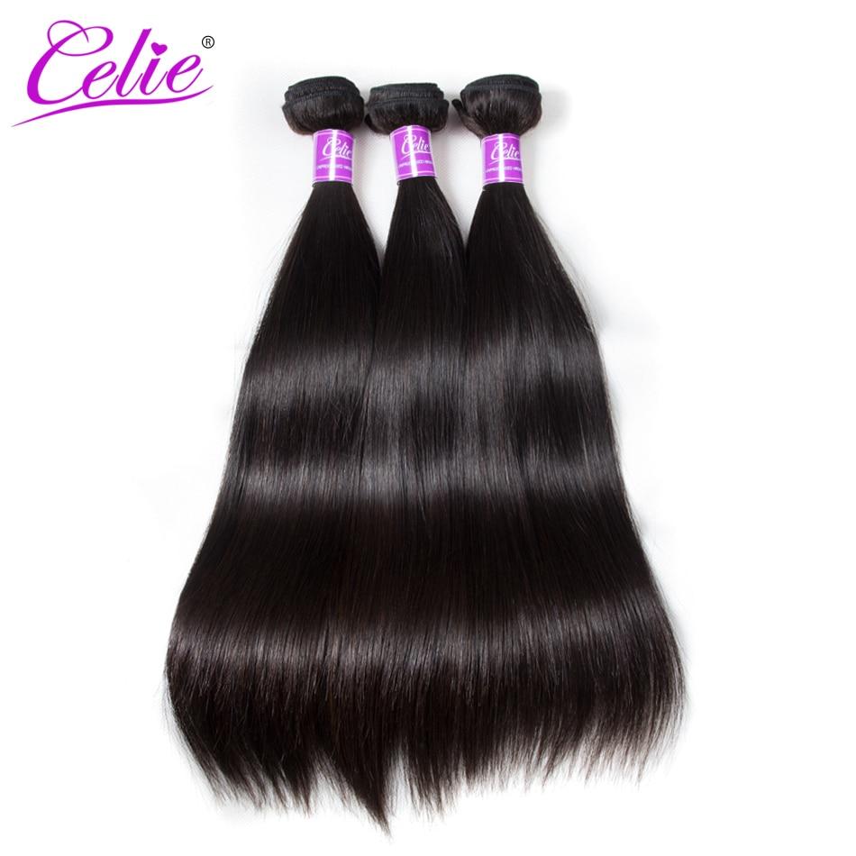 Celie cheveux raides paquets traiter cheveux brésiliens armure faisceaux 10-30 pouces Extensions de cheveux brésiliens Remy cheveux humains faisceaux