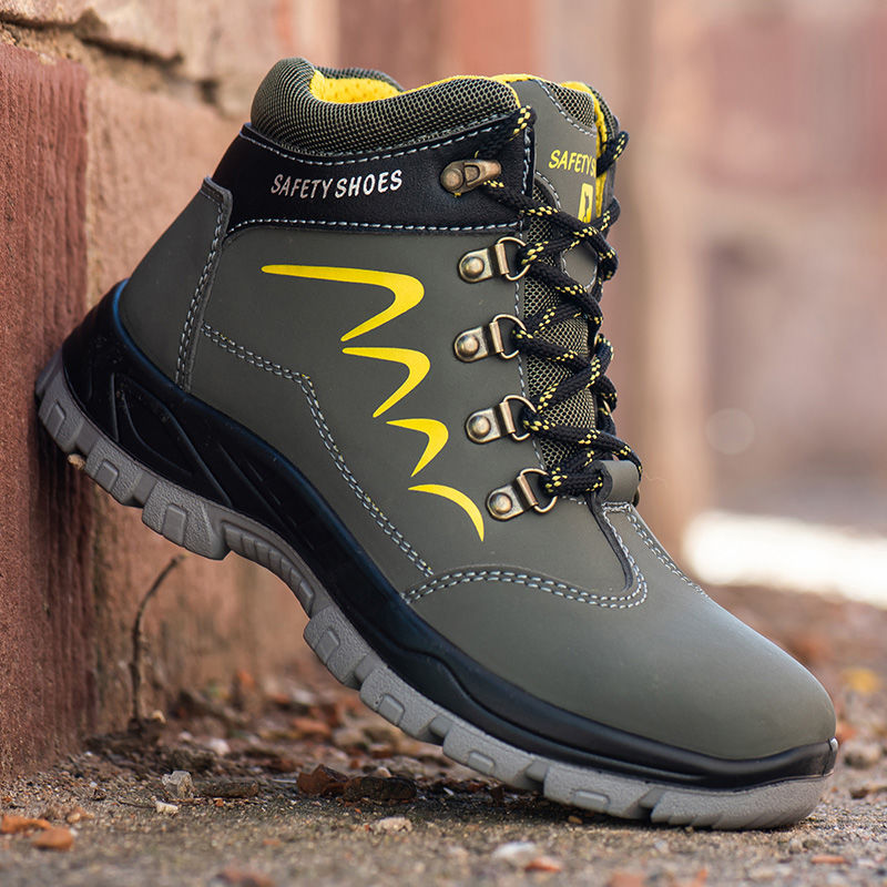 Men High-top Puncture Proof Steel Toe Work Shoes Indestructible Waterproof Safety Shoes Wearable Winter Boots Hiking Sneakers image