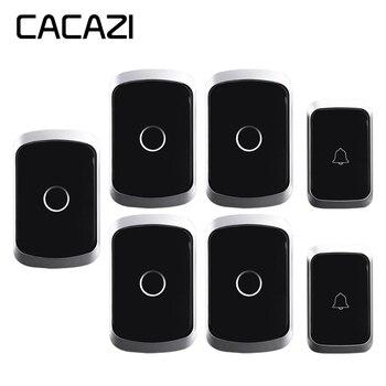 CACAZI Wireless Doorbell Waterproof Battery 300M Remote US EU UK Plug Smart Wireless House Call Button Battery 220V 36 Rings