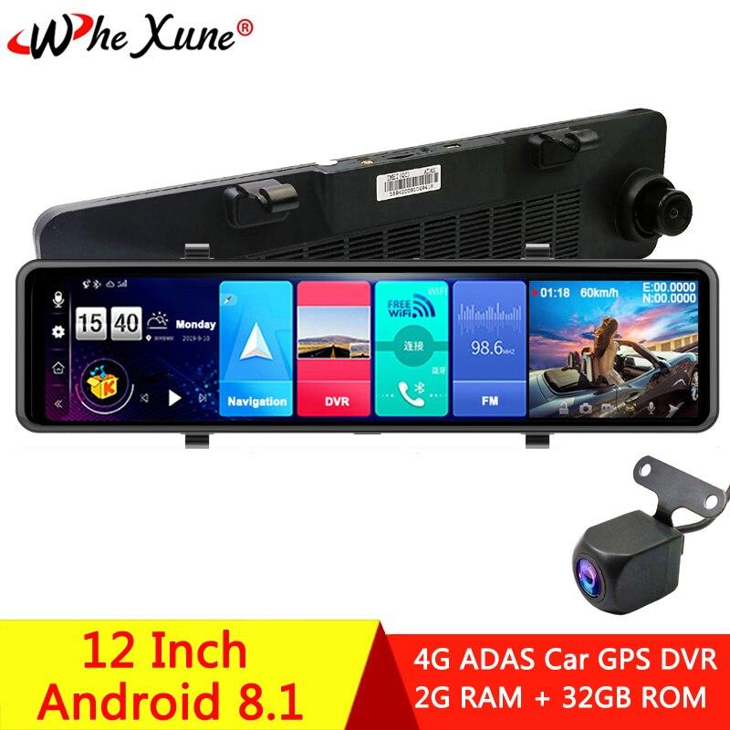 Автомобильный видеорегистратор wexune, 12 дюймов, IPS, 4G, Full HD, 1080 P, GPS, Android 8,1, ADAS, видеорегистратор с двумя объективами, 2020