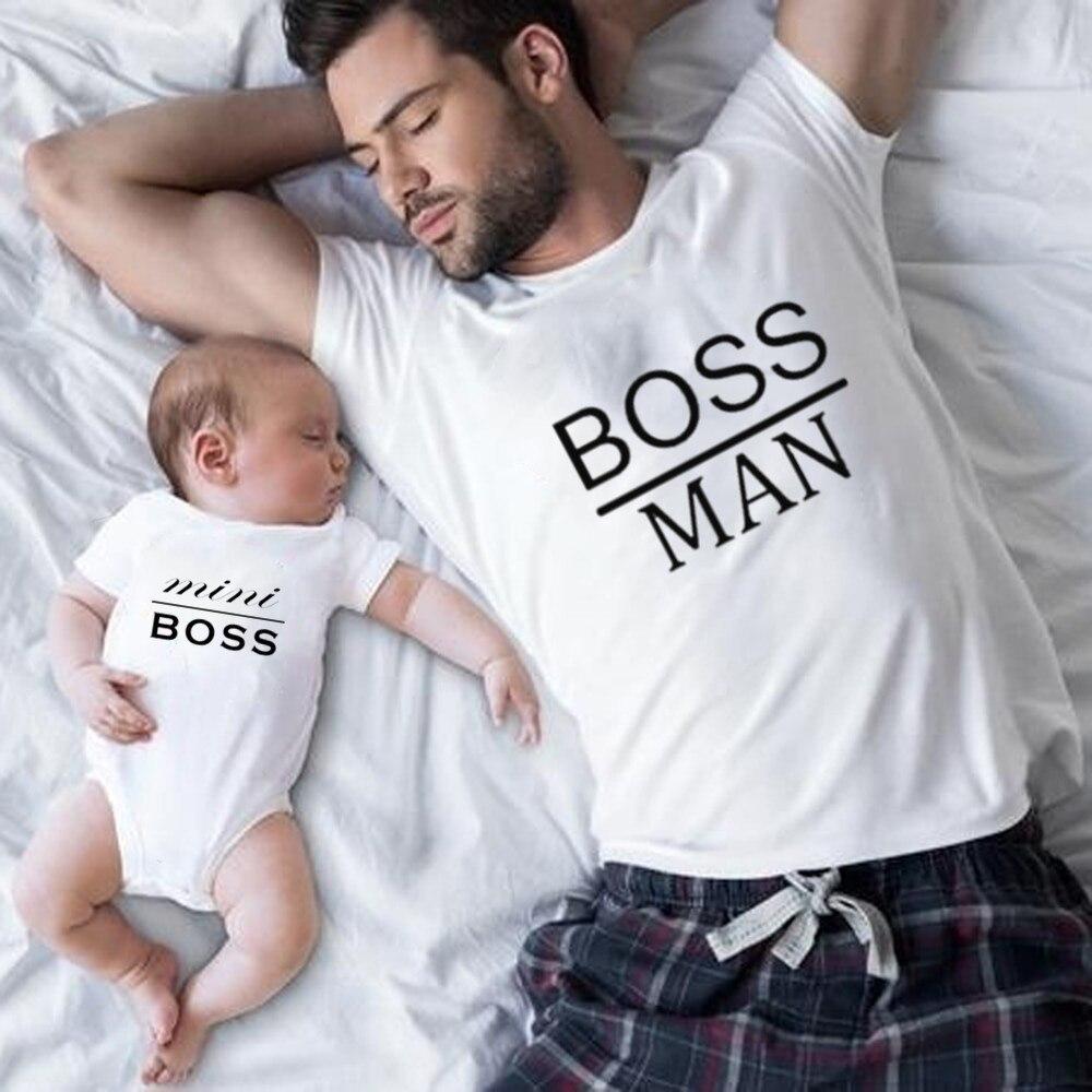 Хлопковая забавная семейная одежда для папы и сына; Семейные комплекты; Футболка с принтом пиццы для папы, мамы, детей; комбинезон для ребенка - Цвет: Boss