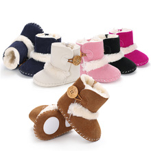 baby boots winter Keep warm Anti-slippery soft baby girl shoes baby boy shoes Learn to walk Suede baby snow boots Cashmere cheap Buckle Strap Fits true to size take your normal size ANKLE Unisex Plush Flat with Flock Round Toe Comfortable indoor outdoor