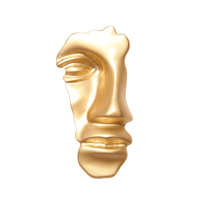 2019New Retro Abstract Mask Golden Face Brooch Suit Mens Womens Prom Fashion Jewelry Accessories Exaggerated