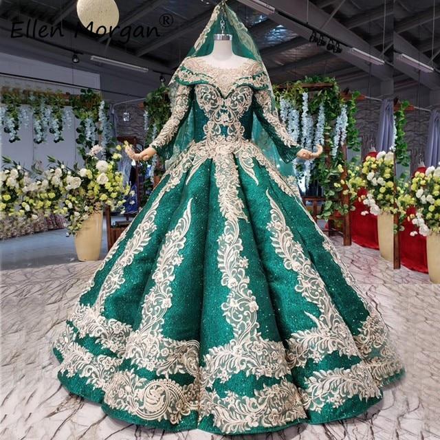 Glitter Dark Green Lange Mouwen Baljurken Trouwjurken Met Sluiers 2020 Puffy Arabisch Moslim Kant Voor Bridal Vrouwen
