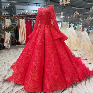 Image 3 - LS2771 red brides wedding party dresses with peplum o neck long tulle sleeve lace up back beauty cheap evening dress real price