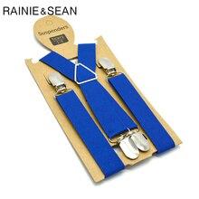 RAINIE SEAN Blue Boys Suspenders Solid High Quality Child Braces Girls Pants Strap Elastic Adjustable 4 Clips Kids