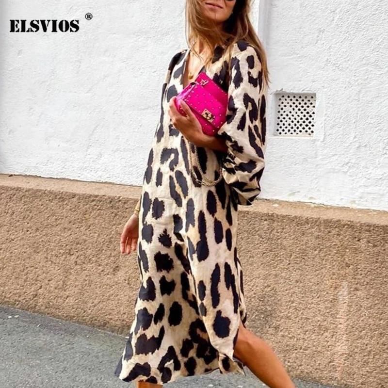 Autumn New Sexy Leopard Print V Neck Long Dresses Casual Fashion Women Lantern Long sleeves Dresses Loose Elegant Party Dresses