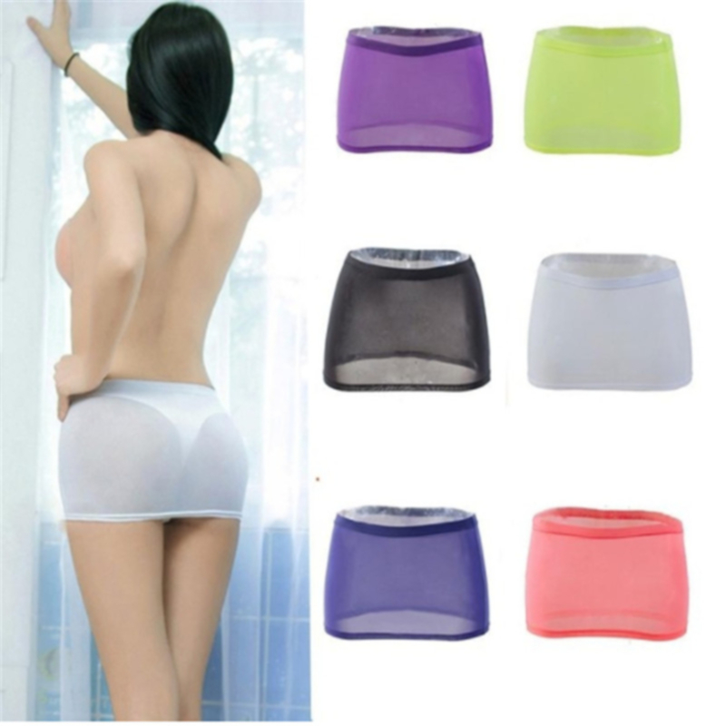 Black Skirts Short Night-Club-Tight Sexy Micro Women Package See-Through Transparent