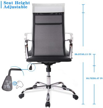 Home Office Chair, High Back Desk Chair Ergonomic Mesh Adjustable Task Computer Chairs with Rolling Casters 1