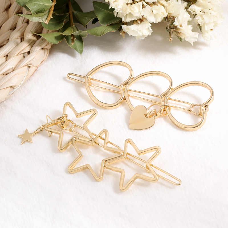 Ladies Fashion Pentagram Shape Hair Clip Hollow Tassel Star Hair Clips CO