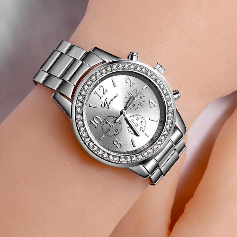 Nouvelle montre femmes classique genève luxe dames montres femmes plein acier cristal Relogio Feminino Reloj Mujer métal montre-bracelet