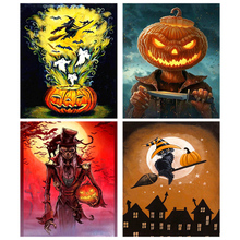цена на Full Drill 5D DIY Diamond Painting Halloween Theme 3D Embroidery Cross Stitch 5D Rhinestone Home Decor
