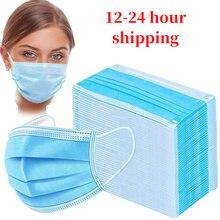 Em estoque! Entrega rápida 100 pces rosto boca anti máscara de poeira descartável 3 camadas filtro dustproof earloop não tecido boca máscara