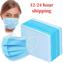 In stock! Fast delivery 100pcs Face Mouth Anti dust Mask Disposable  3 Layers Filter Dustproof Earloop Non Woven Mouth Mask