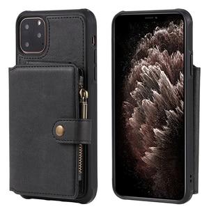 Image 2 - Caso do telefone da carteira do zíper para o iphone 11 pro max x xr 6s 8 7 mais caso de couro da aleta para o iphone xs max se 2020 silicone macio