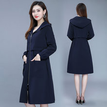 Young And Middle-aged Women's Mid-length Trench Coat Middle-aged Women Dress Overcoat Waist Hugging Spring And Autumn Hooded Lin(China)