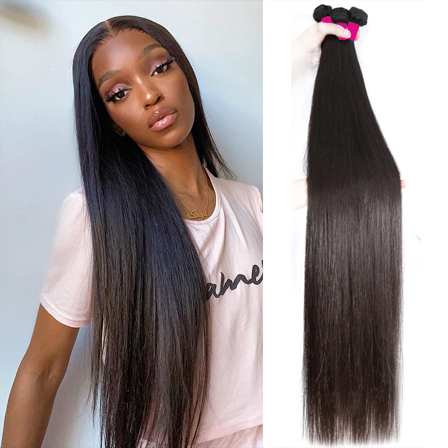 Прямые пряди кости прямые волосы 30 дюймов длинные бразильские натуральные человеческие волосы 1 3 4 пряди для черный Для женщин Virgin Hair пряди