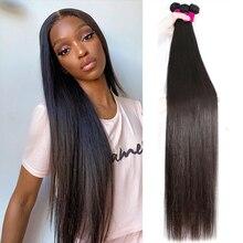 Прямые пучки кость прямые волосы 30 дюймов длинные бразильские натуральные человеческие волосы 1 3 4 пучки для черных женщин девственницы волосы пучки