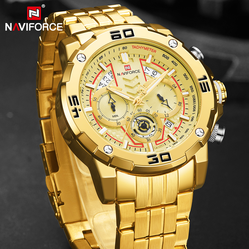 NAVIFORCE Mens Watches Sport Chronograph Luxury Gold Watch Men Quartz Wristwatch Date Waterproof Clock Relogio Masculino 2020