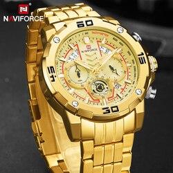 NAVIFORCE męskie zegarki Sport Chronograph luksusowy złoty zegarek mężczyźni zegarek kwarcowy data wodoodporny zegar Relogio Masculino 2020 w Zegarki kwarcowe od Zegarki na