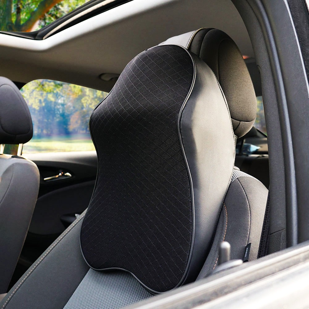 Car Pillow Memory Foam Warm Breathable Neck Pillow Leather Car Seat Cushion Lumbar Support Universal Back Pillow Car Accessories