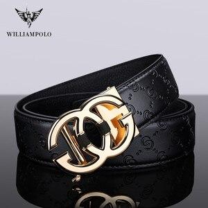 Image 3 - WilliamPolo ceinture en cuir véritable pour homme, marque de luxe, ceinture de qualité haut de marque, sangle en métal, boucle automatique