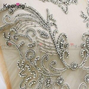 Image 4 - On line di un personaggio famoso argento tessuto di strass corsetto di applique per il vestito da sera pannello WDP 266