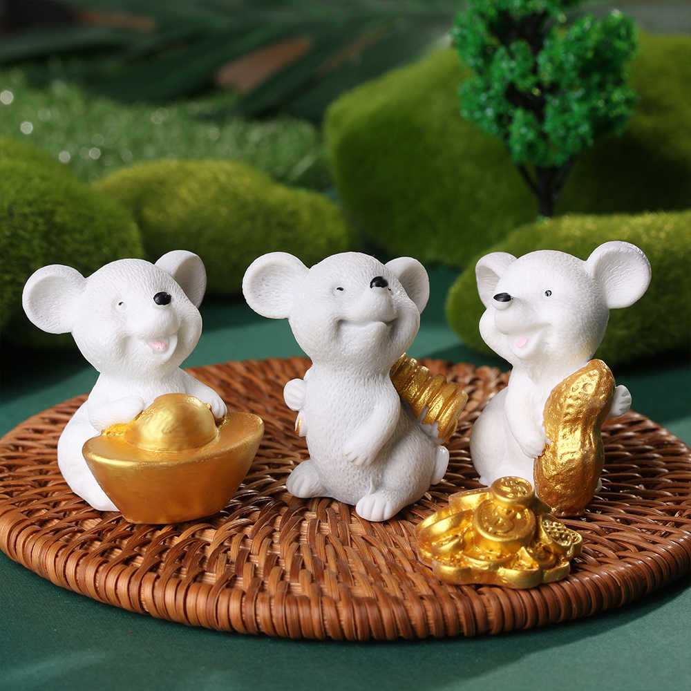 Money Mouse Figurine Micro Landscape Ornaments Miniature Mice Cartoon Bonsai Home Decor Resin Gold Animal Model