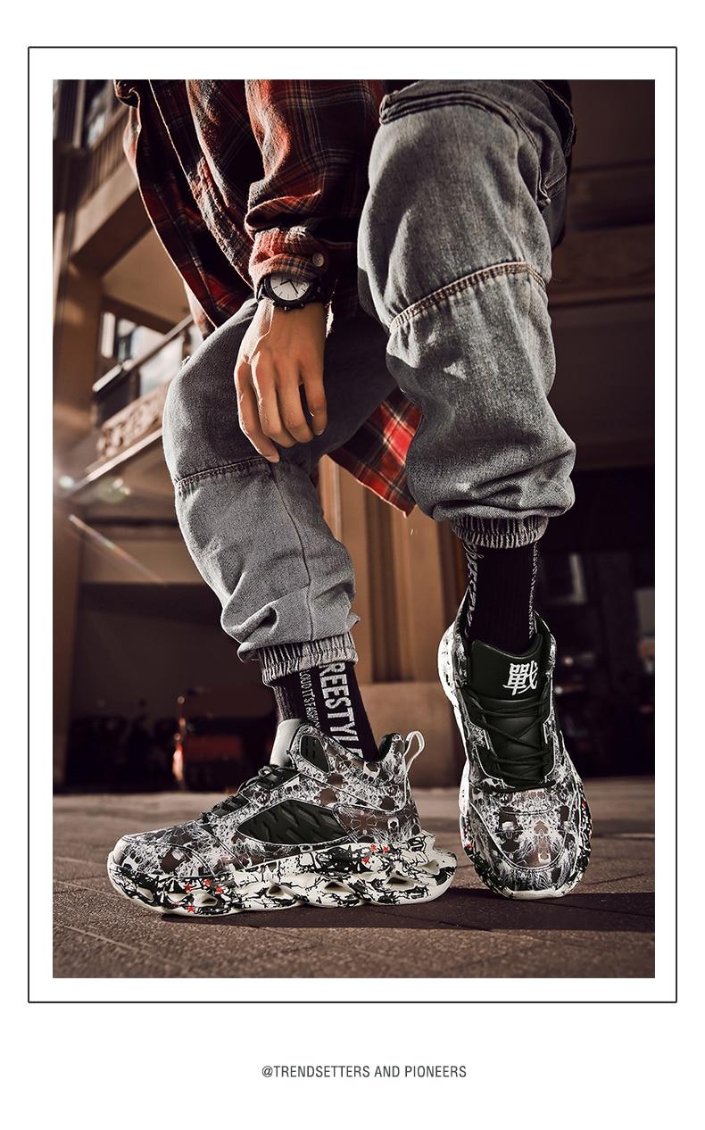 Fashion Men's Hip Hop Street Dance Shoes Graffiti High Top Chunky Sneakers Autumn Summer Casual Mesh Shoes Boys Zapatos Hombre