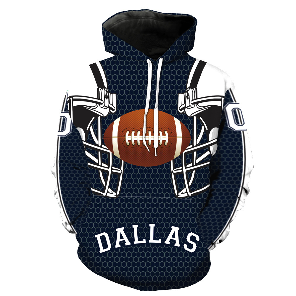 Dallas Cowboy Rugby Team Print With Cap Pocket Cover Head Guard Man's Guard Man's Suit Men's Sweatshirts Printing Blouse Hoodies