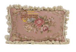 nodic home woolen handmade cushion embroidery pink floral pillowcases for chair bedroom vintage pastoral style  wm-33a 12x18
