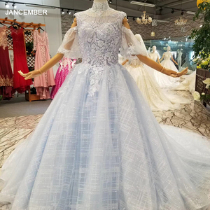 Image 1 - LSS087 light blue mothers of brides dresses high neck half flowy sleeves a line tulle long party dress evening occasion women