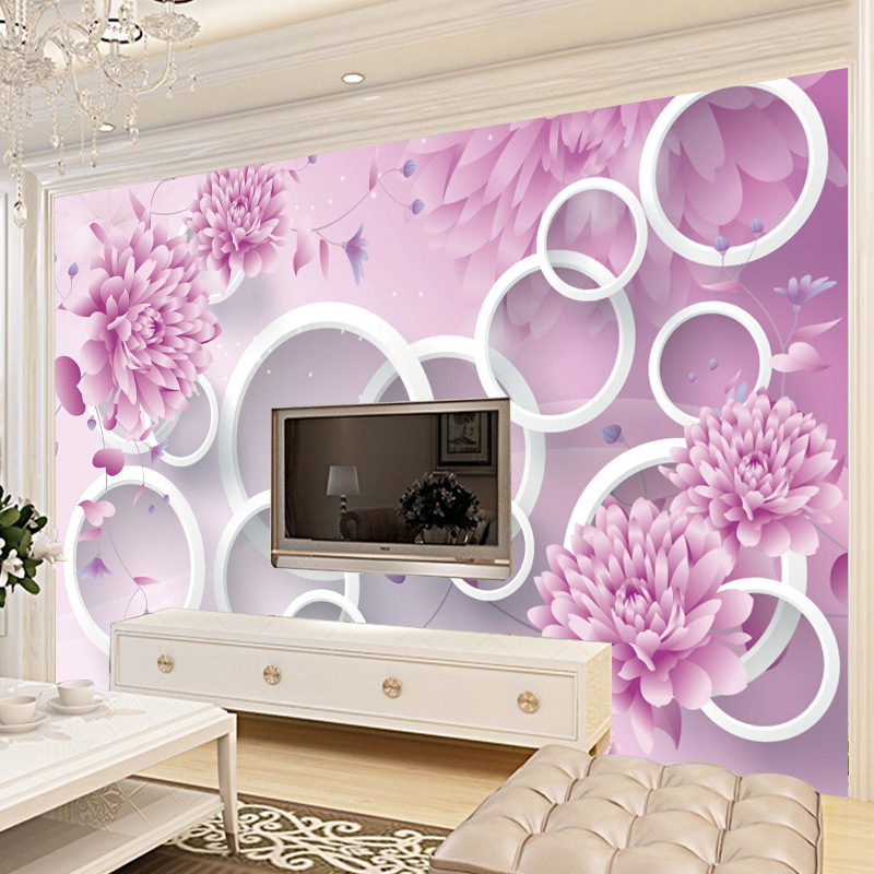 Large Mural 3D Wallpaper Living Room Bedroom TV Background Wallpaper Seamless Wall Cloth TV Wall Mural