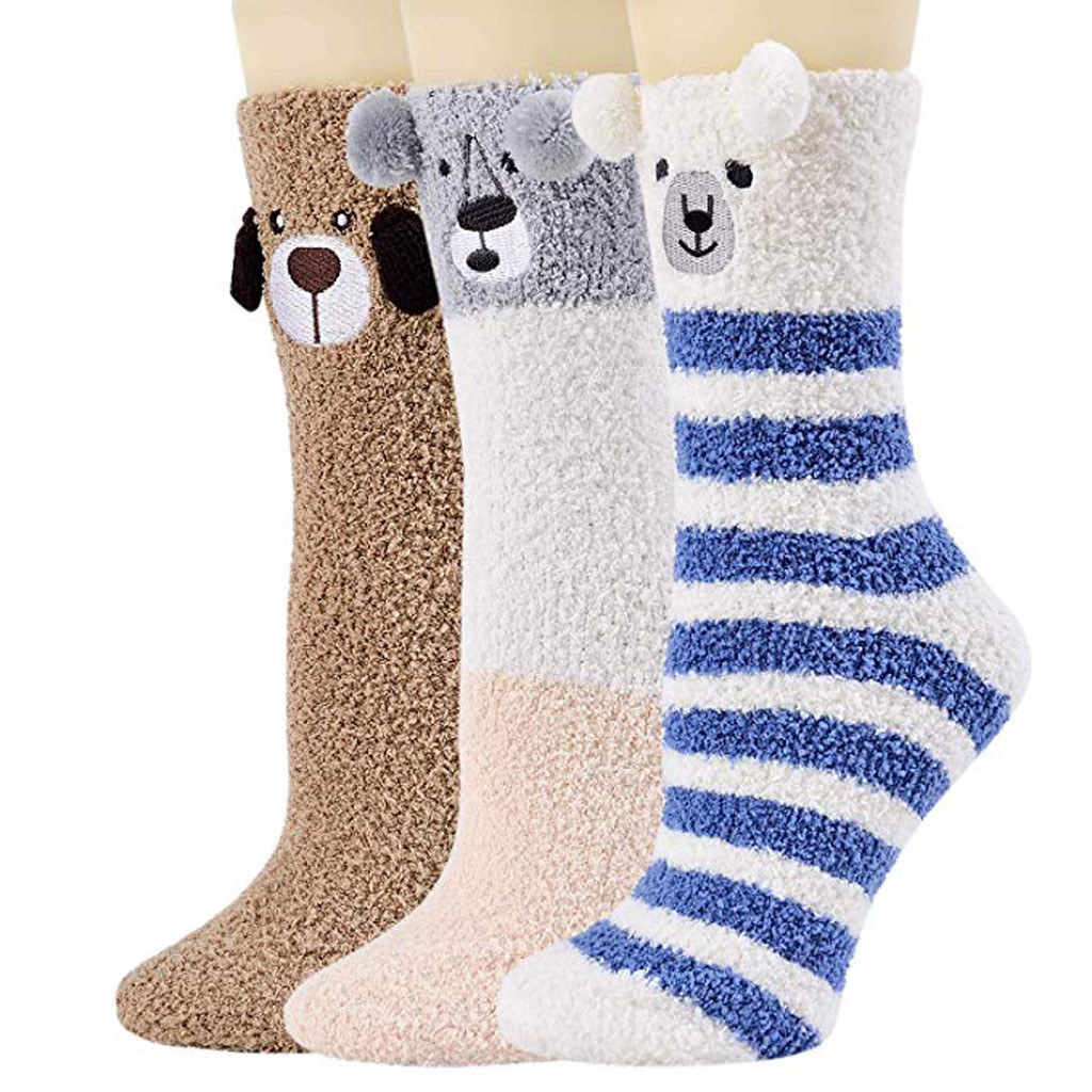 meias skarpetki damskie socks womens Fuzzy 3 Pairs Warm Soft Slipper Home Sleeping Cute Animal women socks calcetines mujer|Socks| - AliExpress