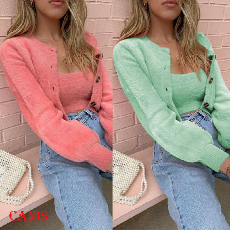 Warm Sweater Jacket Coat Button Long-Sleeve Plush Pink Fleece Green Winter Fashion Women title=