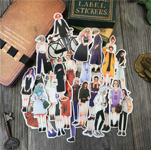 Cute girls in the stationery shop Stickers Scrapbooking Craft Diary Album Phone Computer Seal Stickers Decorative