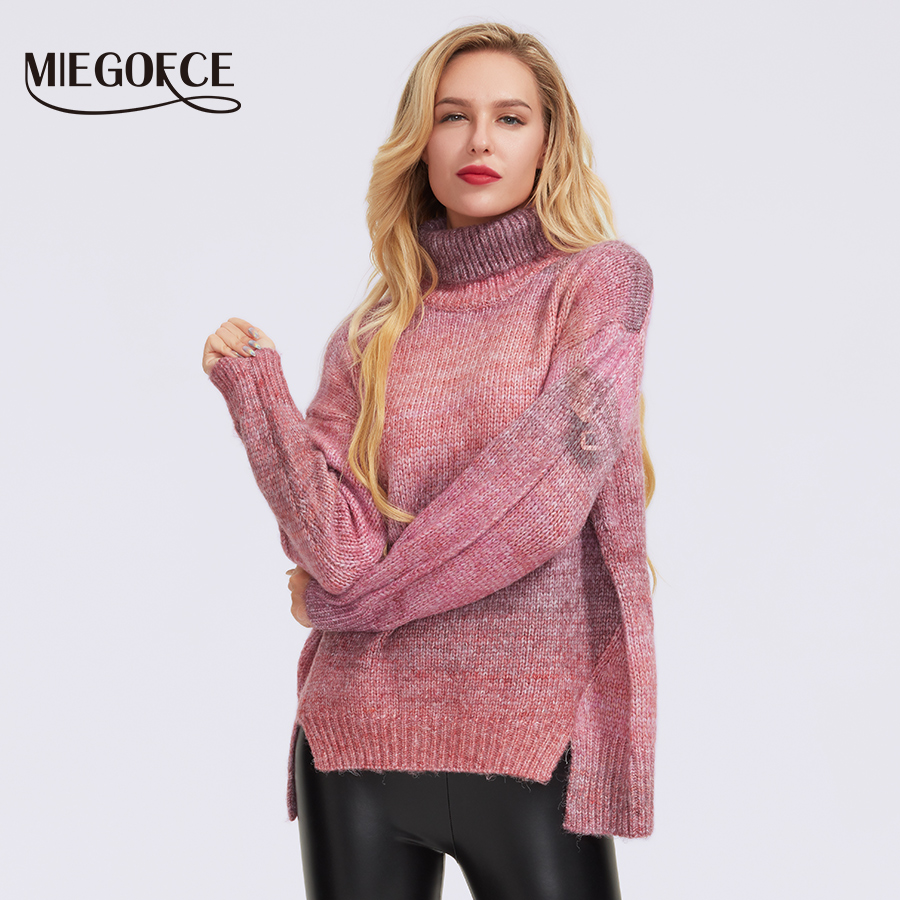 MIEGOFCE 2019 Turtleneck Sweaters Women Winter Solid Polyester Fiber Knitted Pullover Thick Top Loose Sweater Jumper Female