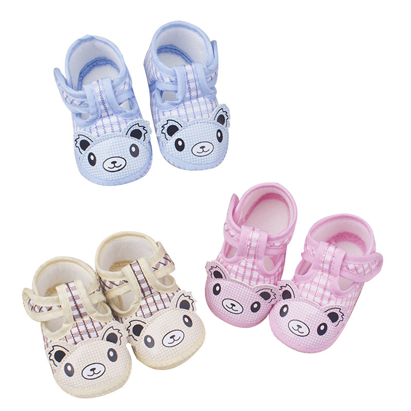 Newborn Toddler Shoes Baby Girl Boy First Walkers Cartoon Bear Print Princess Style Breathable Hollow Non-slip Shoes
