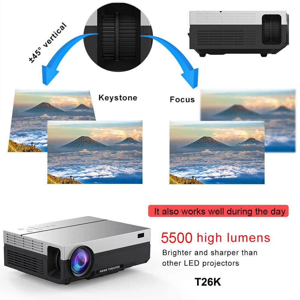 Everycom T26L Full HD projektör 1920x1080P projektör taşınabilir 5500 lümen HDMI Beamer Video projektör LED ev sineması film