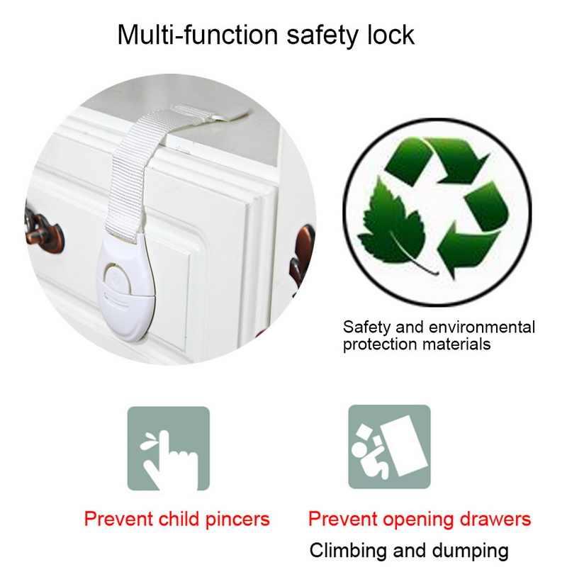 1 Buah Multi Fungsi Lemari Plastik Kunci Anak Keselamatan Perlindungan Kunci Lemari Kabinet untuk Kulkas Pintu Kabinet