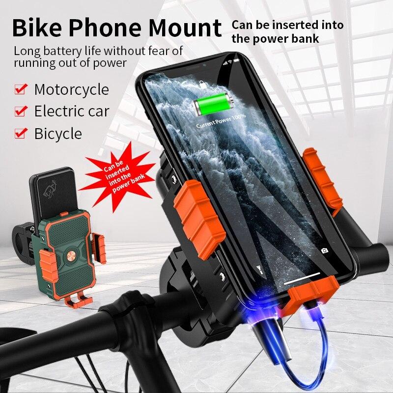 High Quality Universal Bicycle Motorcycle Bike Mobile Phone Holder Riding Bracket 5000/10000mAh Power Bank Motorbike Accessories