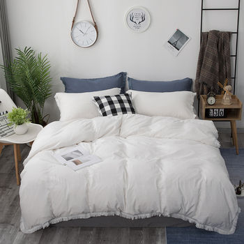 Nordic Duvet Cover White Pink Solid Color Tassel Bedding Set Simple Quilt Cover Single Double Queen King No Bed Sheet Bed Linen nordic duvet cover single queen king cute cartoon bedding set bed sheet pillowcase stripe aloe cotton bed linen simple bedspread