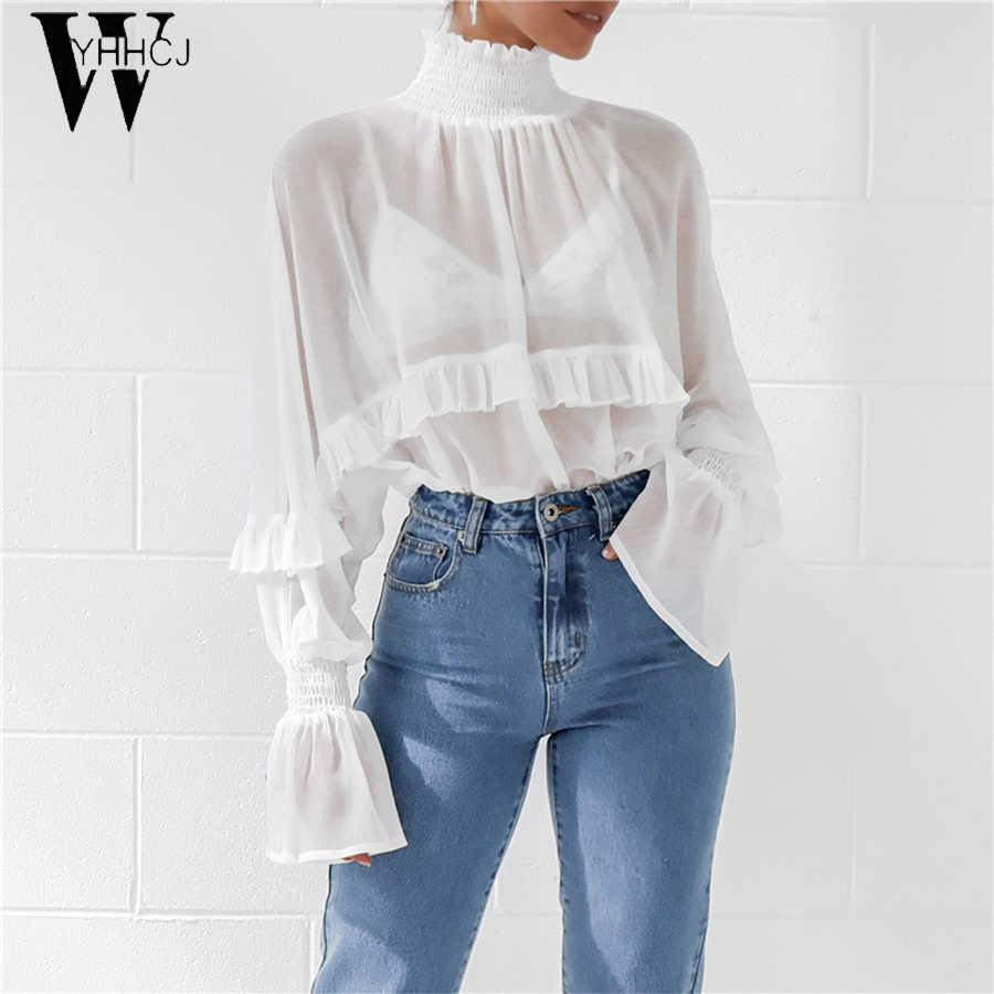 بلوزة المرأة مثير انظر من خلال بلوزة شيفون طويلة الأكمام أنيقة منظور كشكش بلوزة قميص الياقة المدورة تونك قمم Blusas