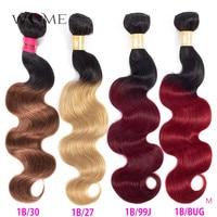 WOME Pre colored Brazilian Body Wave Hair Bundles Ombre Human Hair Bundles 1b/27 1b/30 1b/99j 1b/Burgundy Two Tone Non remy Hair