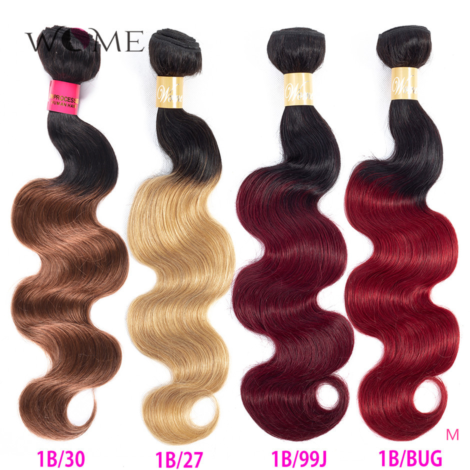WOME Pre-colored Malaysian Body Wave Hair Bundles Ombre Human Hair Bundles 1b/27 1b/30 1b/99j 1b/Burgundy Two Tone Non-remy Hair