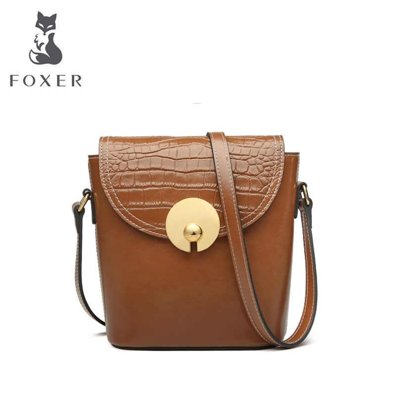 FOXER Women leather bag cowhide fashion Crocodile pattern women handbags designer bags famous brand women bags luxury handbags