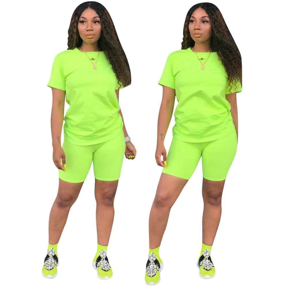 Frauen Trainingsanzug 2 Stück Set Solide Kurzarm Crop Tops T-Shirt Kurze Hosen Anzug Passenden Set Weibliche Jogger Sportwear Fitness